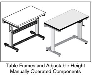 1 AF table frames and adjustable height